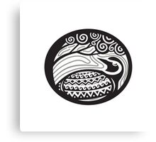 Golden Plover Looking Up Tree Oval Tribal Art Canvas Print