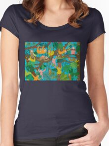 Sloths Jammed Jungle  Women's Fitted Scoop T-Shirt