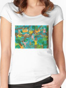 Happy Sloths Jammed Jungle  Women's Fitted Scoop T-Shirt