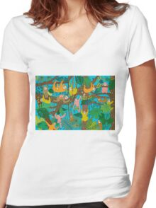 Happy Sloths Jammed Jungle  Women's Fitted V-Neck T-Shirt