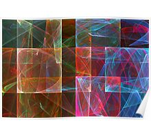 Abstract Checkered Pattern Fractal Flame Poster