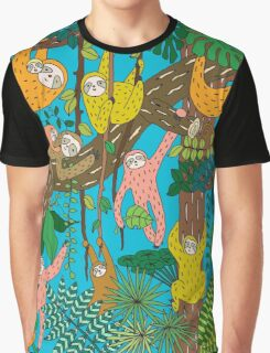 Happy Sloths Jammed Jungle  Graphic T-Shirt