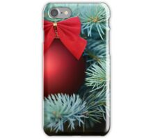 Red Christmas bauble on a fir tree iPhone Case/Skin