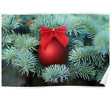 Red Christmas bauble on a fir tree Poster