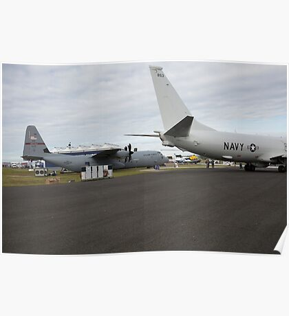 US Air Force and US Navy planes on show at the Futures Day & FAB Friday at Farnborough International Airshow Poster