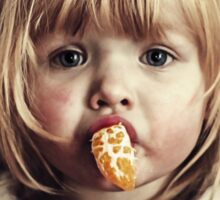 little girl eat oranges Sticker