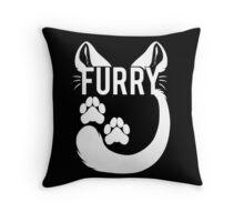 FURRY -feline - white text- Throw Pillow