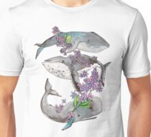 Spring whales and lilac Unisex T-Shirt