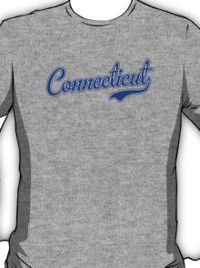 Connecticut Script Font Blue T-Shirt