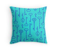 Mermaid Water Treasures - Turquoise Keys Throw Pillow