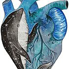 Blue human heart with a whale inside by BeeHappyShop