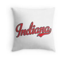 Indiana Script Red Throw Pillow