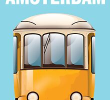 Amsterdam yellow tram travel poster by Nick  Greenaway