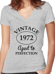 vintage 1972 aged to perfection Women's Fitted V-Neck T-Shirt