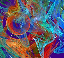 Colorful Computer Generated Abstract Fractal Flame by KWJphotoart