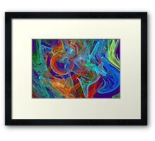 Colorful Computer Generated Abstract Fractal Flame Framed Print
