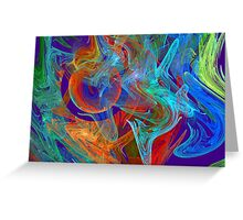 Colorful Computer Generated Abstract Fractal Flame Greeting Card