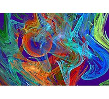 Colorful Computer Generated Abstract Fractal Flame Photographic Print