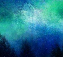 Aurora Borealis Green Night Sky  Sticker