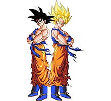 Goku in Normal Form and as Super Saiyan - Dragon Ball Z Photographic Print