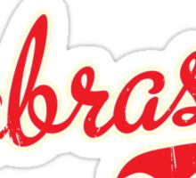 Nebraska Script VINTAGE Red Sticker