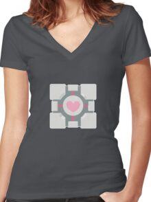 Portal companion cube Women's Fitted V-Neck T-Shirt