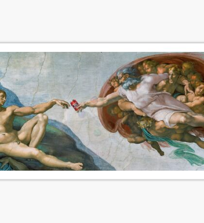 The Creation of Adam Beer Meme Sticker