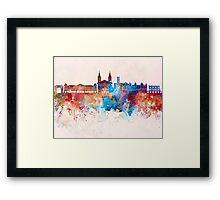 Aosta skyline in watercolor background Framed Print