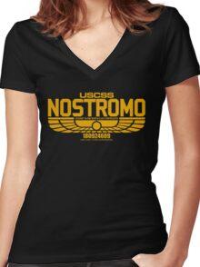 NOSTROMO ALIEN MOVIE STARSHIP (YELLOW) Women's Fitted V-Neck T-Shirt