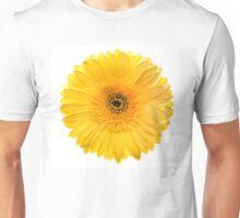 Yellow gerbera head, closeup shot, isolated on a white background Unisex T-Shirt