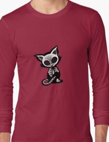 Skeleton cat red bg Long Sleeve T-Shirt