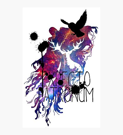 EXPECTO PATRONUM HEDWIG GALAXY Photographic Print