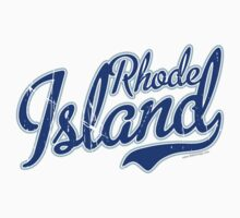 Rhode Island State Script VINTAGE Blue by Carolina Swagger
