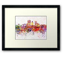 Columbus skyline in watercolor background Framed Print