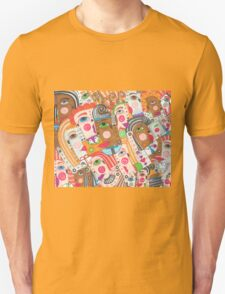 Faces and hands colorful sbtraction Unisex T-Shirt