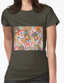 Faces and hands colorful sbtraction Womens Fitted T-Shirt