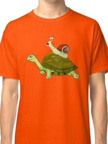 Frightened Snail Hitches a Ride Classic T-Shirt