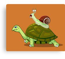 Frightened Snail Hitches a Ride Canvas Print