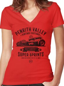 Vintage Customs Super Sprints [Black Mono] Women's Fitted V-Neck T-Shirt