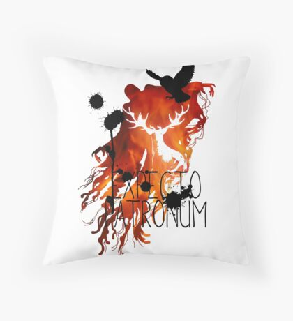 EXPECTO PATRONUM HEDWIG FIRE Throw Pillow