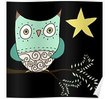 Blue Owl In Tree Poster