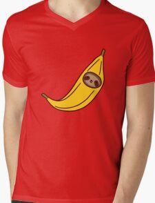 Banana Sloth Face Mens V-Neck T-Shirt