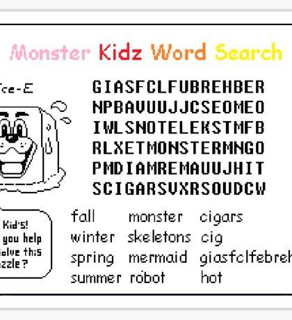 Undertale Word Search Super Hard Puzzle Sticker