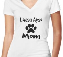 Lhasa Apso Mom Women's Fitted V-Neck T-Shirt