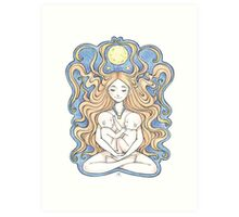 Twin Moons Mama Art Print