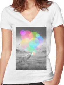 The Echoes of Silence Women's Fitted V-Neck T-Shirt