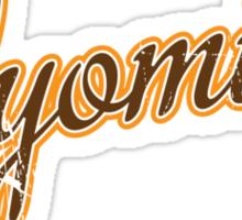 Wyoming Script VINTAGE Brown Sticker