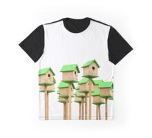 Big group of green wooden birdhouses, on white background Graphic T-Shirt