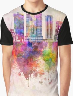 Fort Worth skyline in watercolor background Graphic T-Shirt