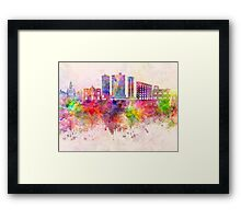 Fort Worth skyline in watercolor background Framed Print